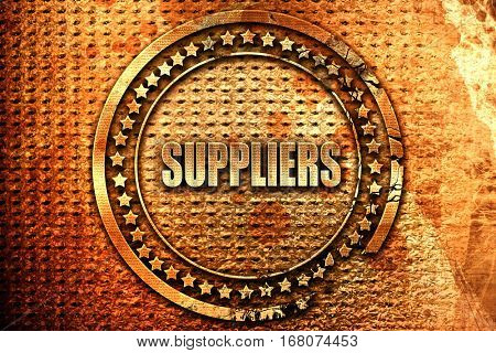 suppliers, 3D rendering, grunge metal stamp