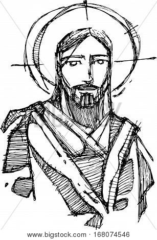 Hand drawn vector illustration or drawing of Jesus Christ smiling