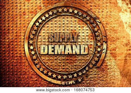 supply and demand, 3D rendering, grunge metal stamp