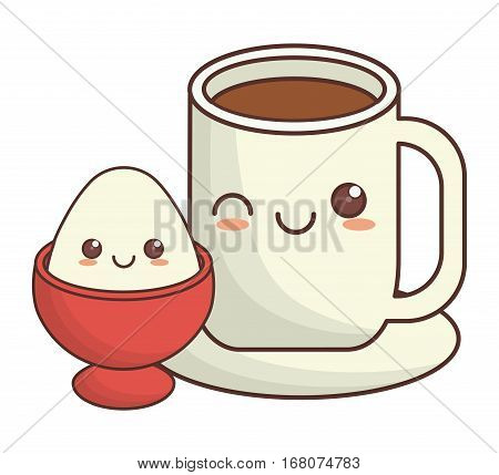 coffee cup and boiled egg kawaii icon image vector illustration design