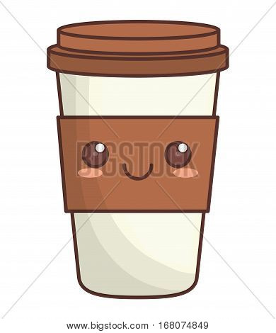 disposable coffee cup kawaii icon image vector illustration design