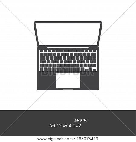 Laptop icon in flat style isolated on white background.
