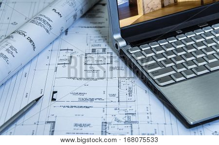 Home improvement construction - remodeling plans of three story residential home