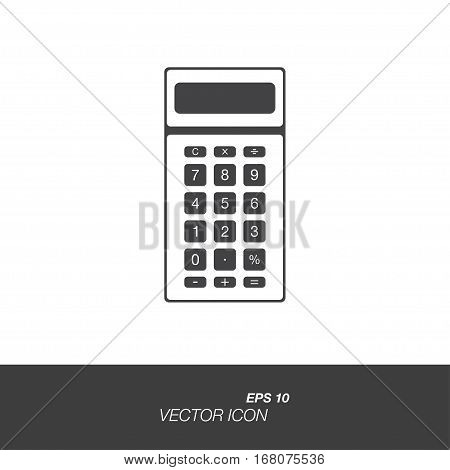 Calculator icon in flat style isolated on white background. Calculator symbol for your design and logo. Vector illustration EPS 10.