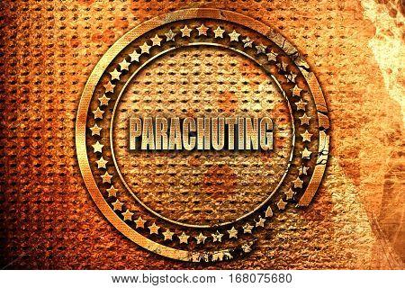 parachuting sign background, 3D rendering, grunge metal stamp