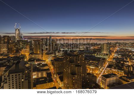 San Francisco, California, USA - January 14, 2017:  Predawn view of buildings and streets in the Downtown and Mission Bay districts.