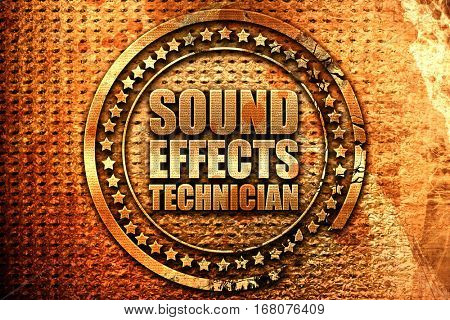 sound effects technician, 3D rendering, grunge metal stamp