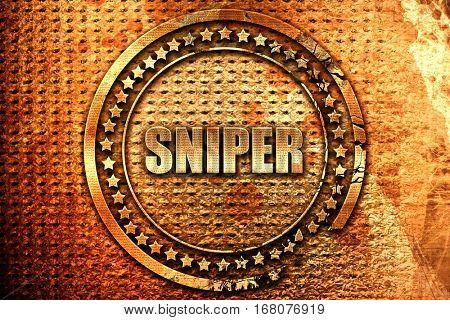 sniper, 3D rendering, grunge metal stamp