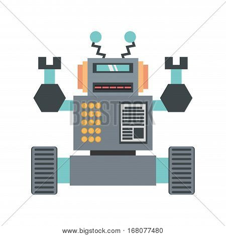 robotic future technology with wheel up amrs vector illustration eps 10