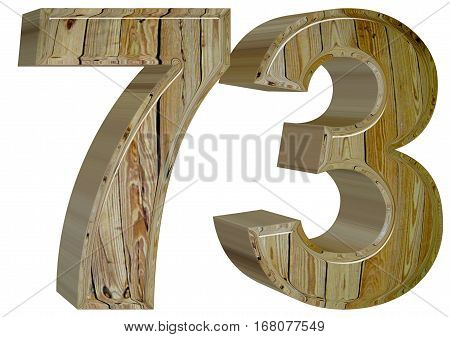 Numeral 73, Seventy Three, Isolated On White Background, 3D Rend
