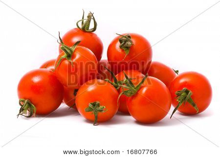 Cherry tomatoes on studio white background.