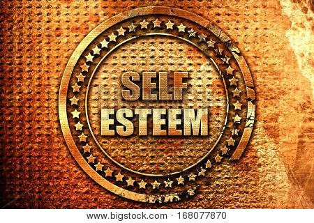 self esteem, 3D rendering, grunge metal stamp