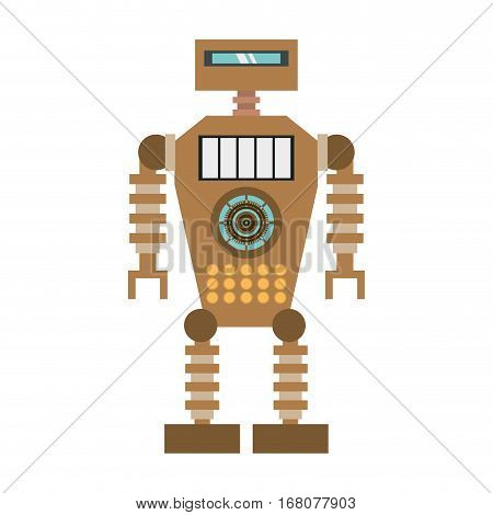 brown robot technology future artificial intelligence vector illustration eps 10