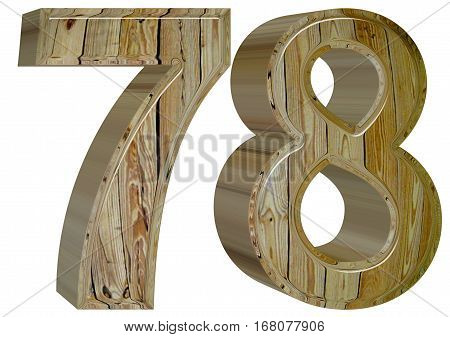 Numeral 78, Seventy Eight, Isolated On White Background, 3D Rend