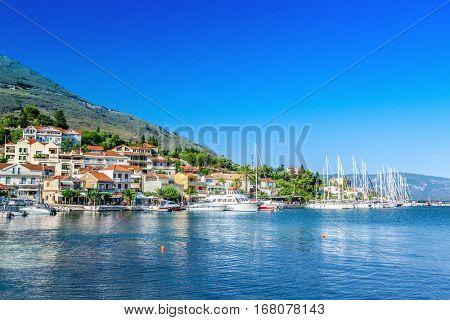 Village on coast of Kefalonia island, Greece.
