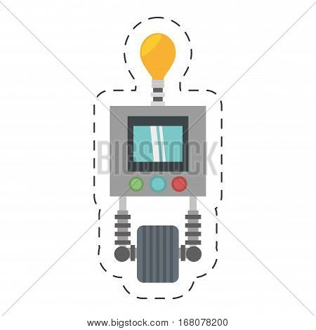 technology robot bulb light display with wheel cutting line vector illustration eps 10