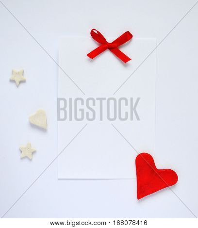 Valentine love card with bow,heart,stars and empty sheet of white paper, greeting card
