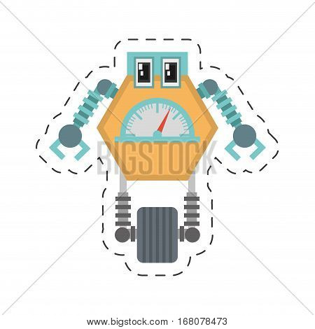 robot multi-task technology pincers arms cutting line vector illustration eps 10
