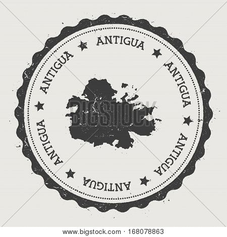 Antigua Sticker. Hipster Round Rubber Stamp With Island Map. Vintage Passport Sign With Circular Tex