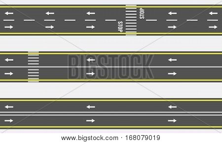 Seamless asphalt road and highway types from top view. Vector illustration