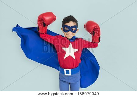 Superhero Kid Mighty Strength Concept