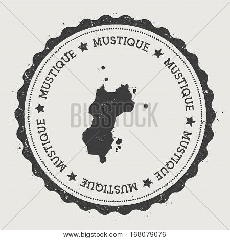 Mustique Sticker. Hipster Round Rubber Stamp With Island Map. Vintage Passport Sign With Circular Te