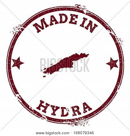Hydra Seal. Vintage Island Map Sticker. Grunge Rubber Stamp With Made In Text And Map Outline, Vecto