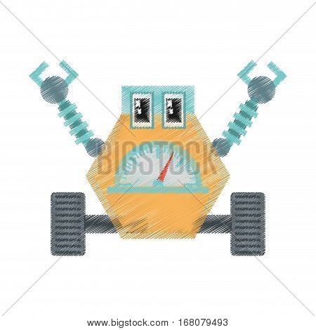 drawing robot multi-task technology pincers arms vector illustration eps 10