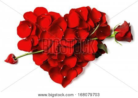 Rose arrow pierced petals heart isolated on white background