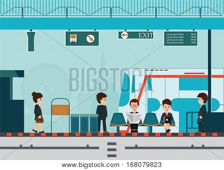 People wait for a train at Train station platform of subway or sky train business travel transportation vector illustration.