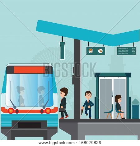 People wait for a train at Train station platform of subway or sky train Latecomer man running along the platform to reach the train business travel transportation vector illustration.