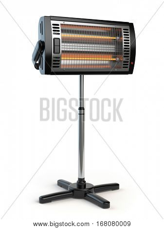 Halogen or infrared heater isolated on white background. 3d illustration