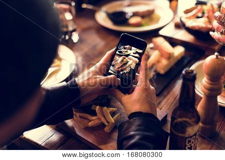 Man Use Mobile Snap Food Photo