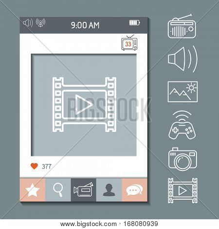Mobile app photo or video frame template with set of icons