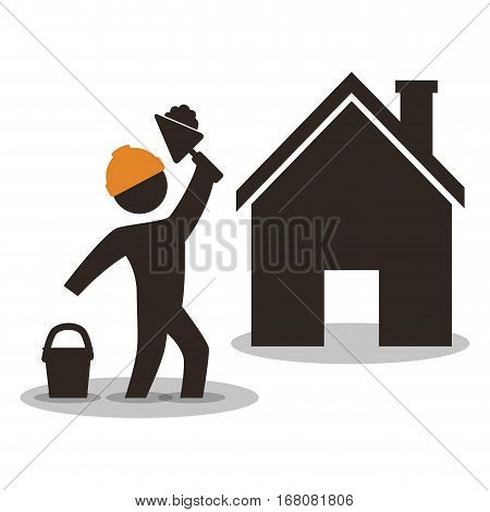 house construction worker wiyh spatule and cement vector illustration eps 10