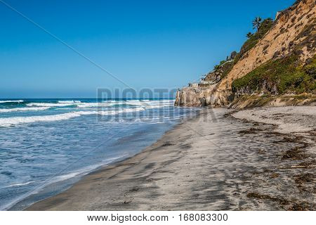 Beacon's Beach and cliffs in Encinitas, California.