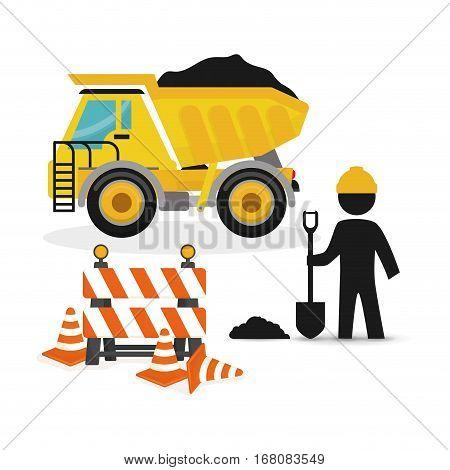 dump truck full barrier cone road and worker shovel vector illustration eps 10