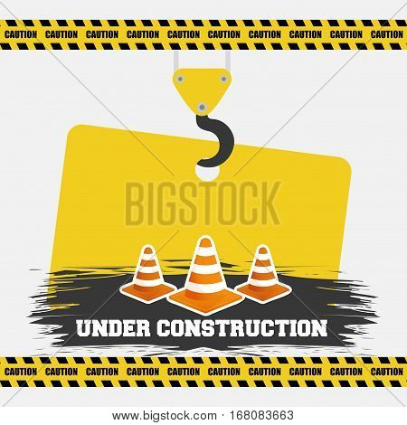 under construction cone traffic warming sign hanging vector illustration eps 10