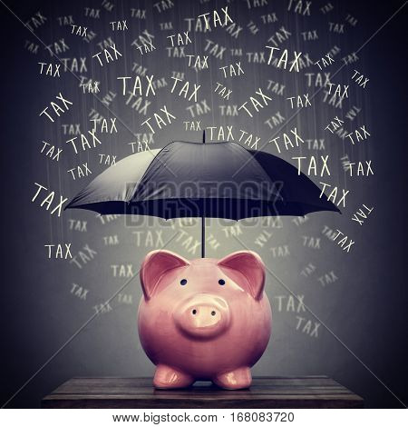 Umbrella for hiding piggy bank savings account from tax