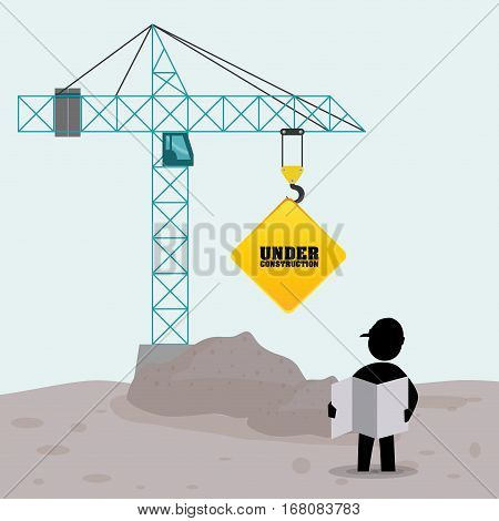 foreman worker construction concrete blueprint crane sign vector illustration eps 10