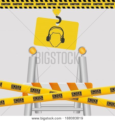 silhouette man sign hanging crane with tape under construction barrier vector illustration eps 10