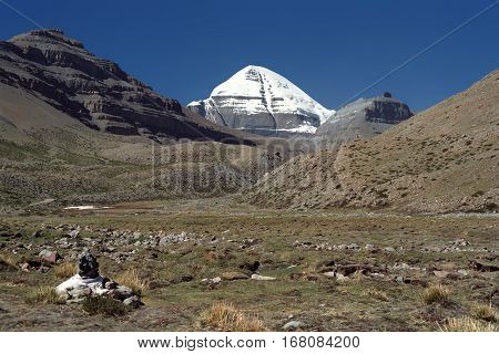 View to the South Face of sacred Mount Kailash in Western Tibet.