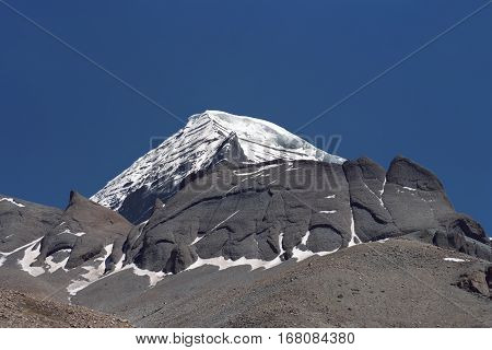 North-Western rib of sacred Mount Kailash in Western Tibet.