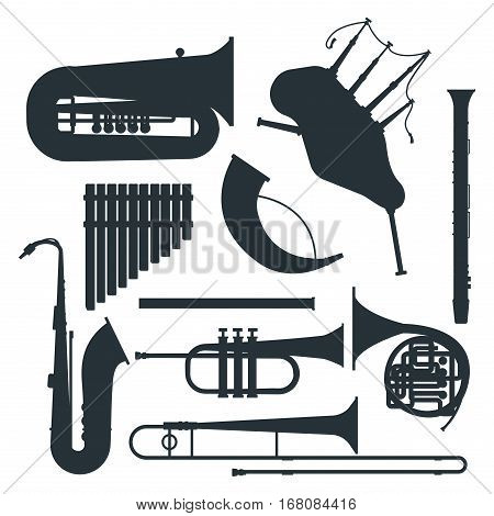 Musical instruments silhouette isolated under white background. Blow blare studio acoustic shiny musician equipment. Orchestra trumpet sound metal woodwind tool.