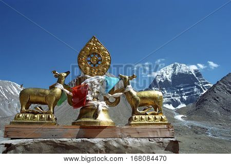 Dharmachakra on the roof of Buddhist monastery Driraphuk gompa at the North Face of sacred Mount Kailash in Western Tibet.