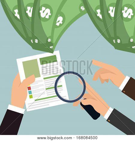 hand men search payment money cash vector illustration eps 10