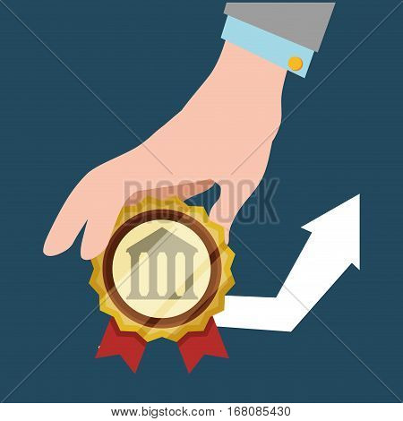hand hold bank arrow economic financial badge vector illustration eps 10