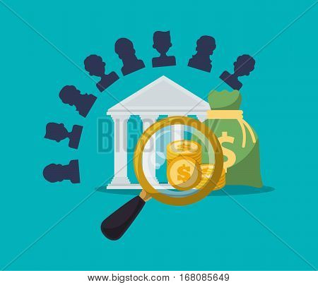 banking character search coins bag money vector illustration eps 10