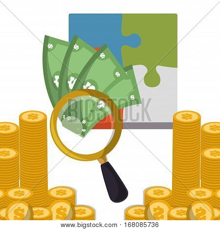 business strategy search money coins vector illustration eps 10