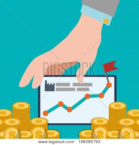 hand with board chart increase coins design vector illustration eps 10
